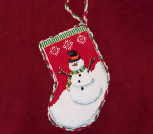 needlepoint Christmas snowman decoration