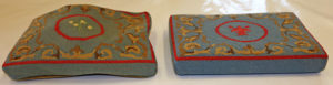 church needlepoint pillows before and after restoration