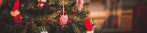 handmade Christmas decorations on a Christmas tree